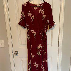 Maroon, Flower Wrap Dress
